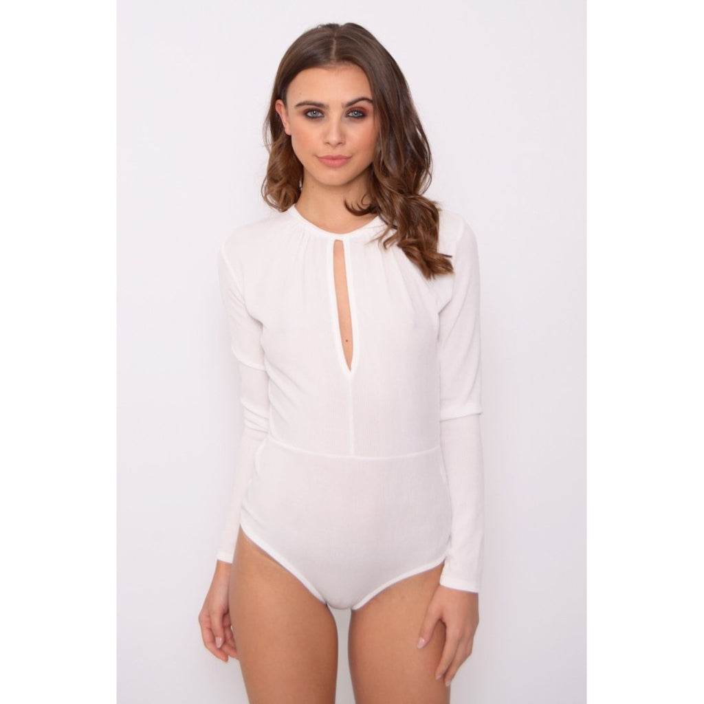 Cream Long Sleeve Ribbed Bodysuit