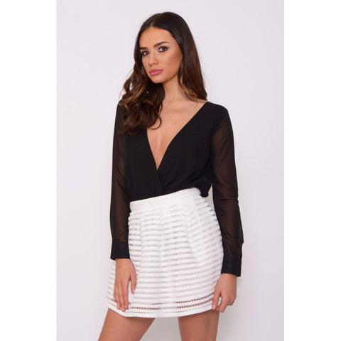 White Mesh Stripe Skater Skirt