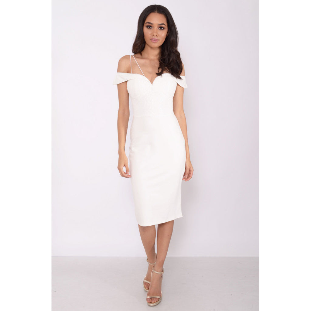 White Cord Strap Bardot Midi Dress - 1001noches