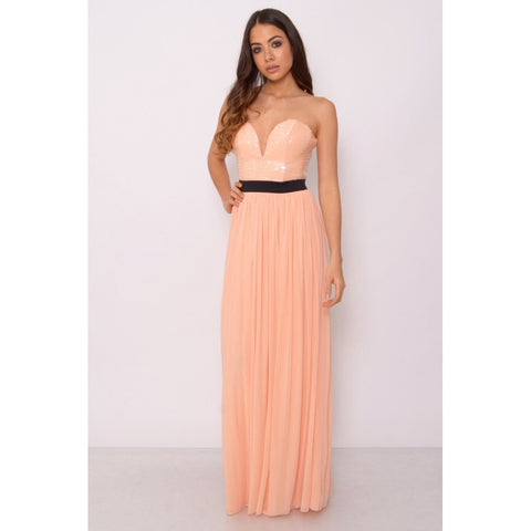 Blush Sequin Bust Maxi Dress