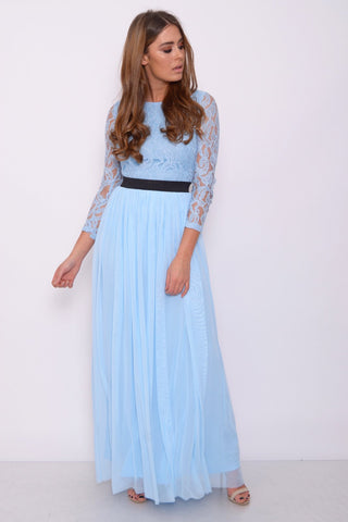 Cornflower Blue Lace Top Long Sleeve Maxi Dress