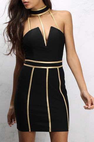 Metallic Binding High Neck Mini Dress