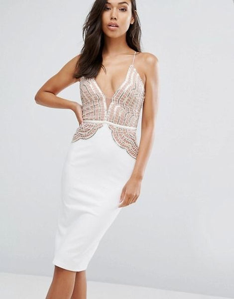 Pencil Dress Scallop Lace Sequin Bodice