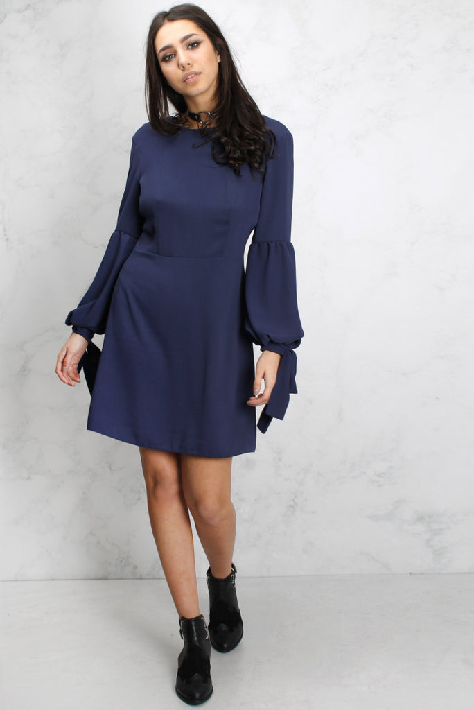 Navy Tie up statement Sleeve dress