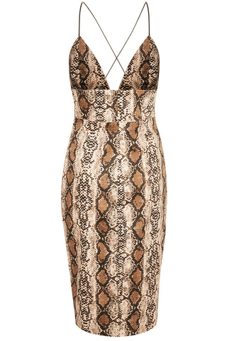 Python Print Strap back midi Dress