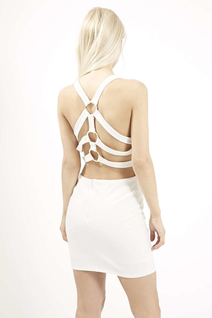 White Strappy Ring back Dresss