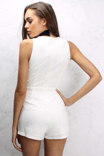 White Military Wrap Playsuit