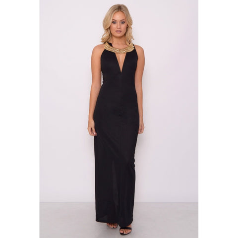 Black Plunge Jewelled Maxi Dress