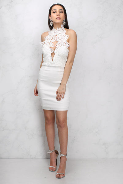 White High Neck Plunge Lace Mini Dress