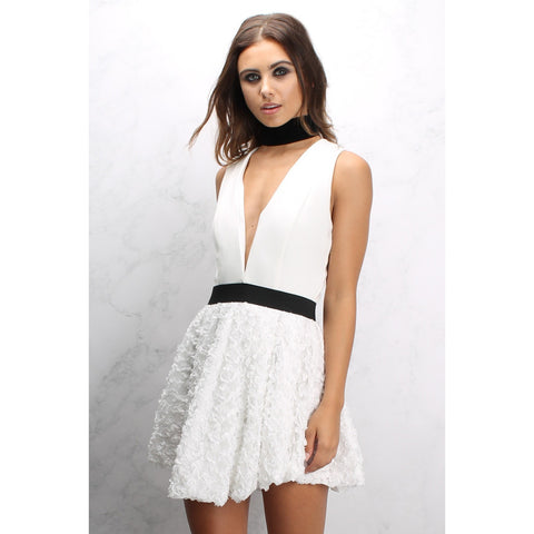 Deep plunge Textured mini Dress