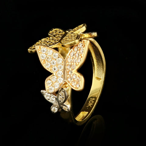 10kt Tri Color Gold Fancy Woman Butterfly Ring with Cubic Zirconia