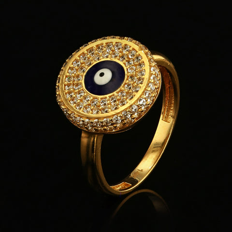 14kt Yellow Gold Fancy Woman Ring with Turkish Eye and Cubic Zirconia