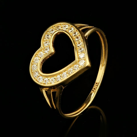 10kt Yellow Gold Fancy Woman Heart Ring with Cubic Zirconia