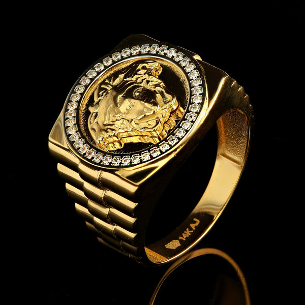 14kt Yellow Gold Fancy Mens Ring with Zirconia