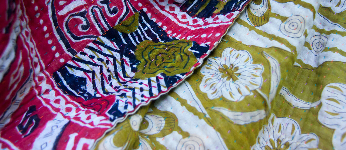 Red and Yellow Kantha throw by Kantha Home