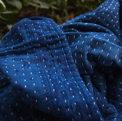 Kantha Home indigo throw in deep blue focus on the pattern