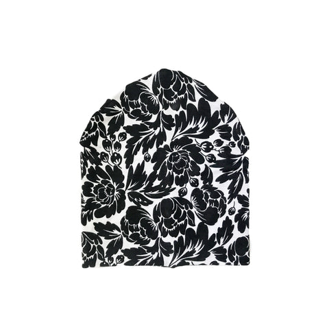 Black and White Floral Slouchy Beanie