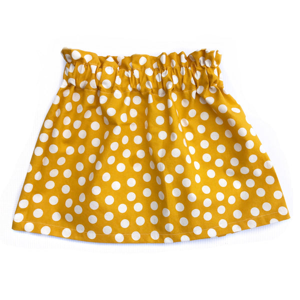 Fall Collection High Waist Mustard Polka Dot Skirt