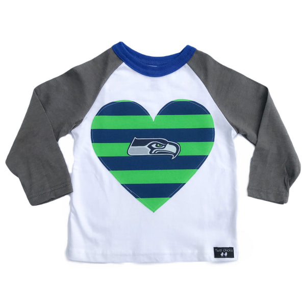 Seahawks Striped Heart Long Sleeve Raglan Tee