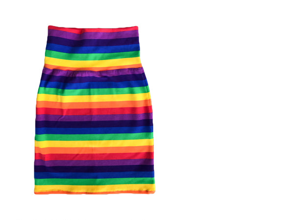 Rainbow Stripe Pencil Skirt