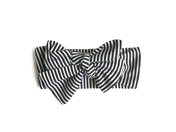 Black and White Pinstripe Headwrap