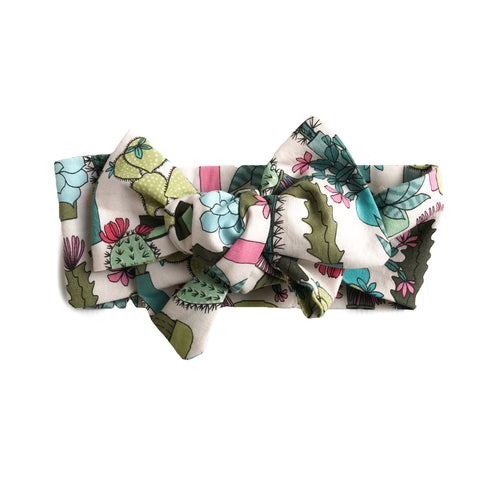 Succulents and Cactus Headwrap Hair Bow