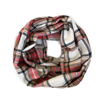 Plaid Infinity Scarf - Tan And Red Large Plaid