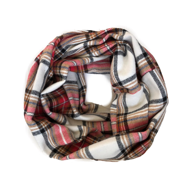 Fall Plaid Infinity Scarf - Tan And Red Large Plaid