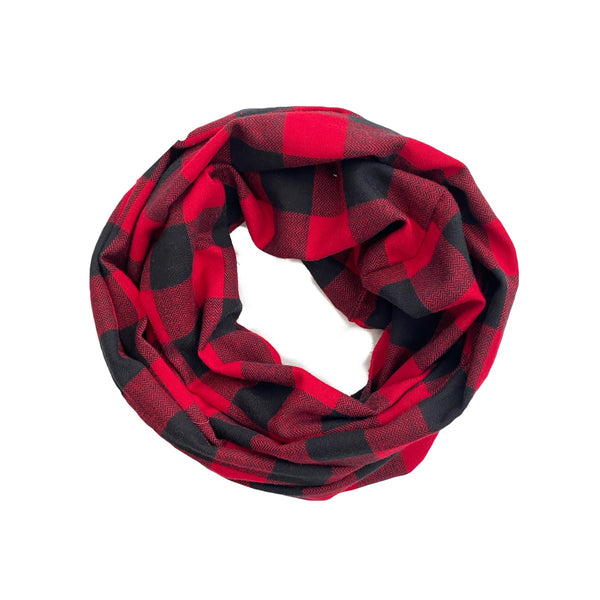 Soft Flannel Red Buffalo Plaid Toddler or Youth Infinity Scarf