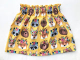 Fall Collection Woodland Animals High Waist Skirt