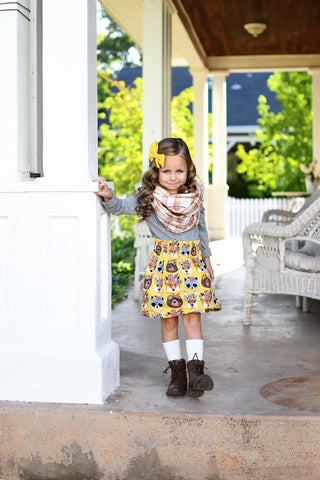 Woodland Forest Animals Mustard High Waist Skirt