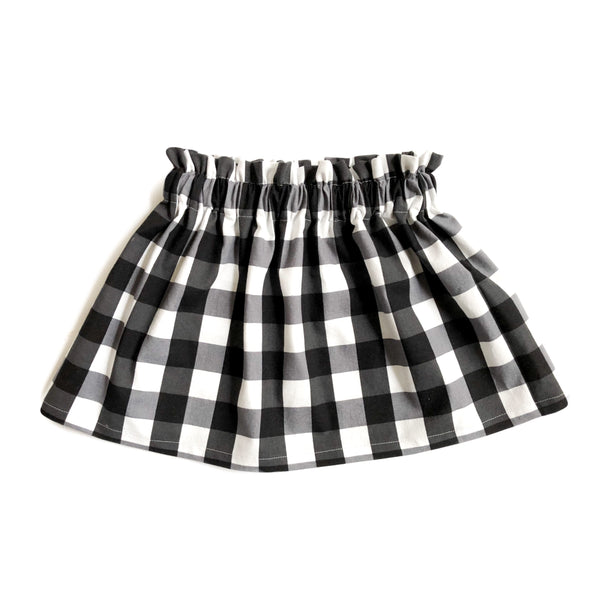 High Waist Black and White Gingham Plaid Skirt