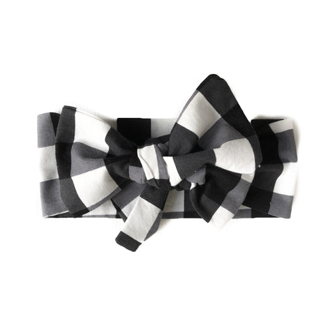 Black and White Gingham Headwrap Hair Bow
