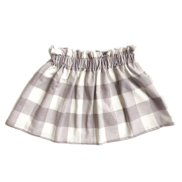 High Waist Grey and White Ivory Gingham Plaid Skirt