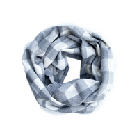 Grey and White Buffalo Plaid Infinity Scarf