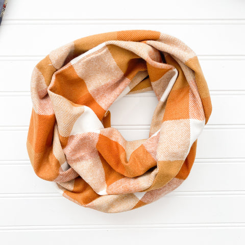 Golden Orange Buffalo Plaid Infinity Scarf