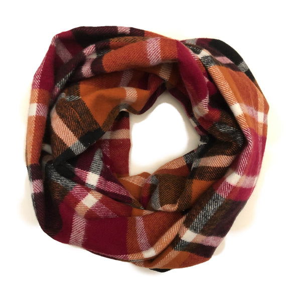 Fall Plaid Infinity Scarf - Maroon, Tan, Pumpkin, Black