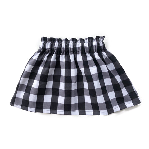 High Waist Black and White Buffalo Check Skirt