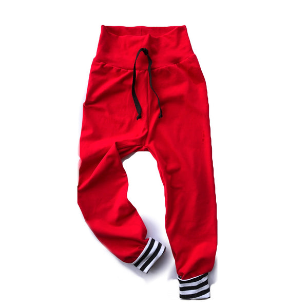 Red With Stripe Cuff Joggers Comfy Pants PREORDER