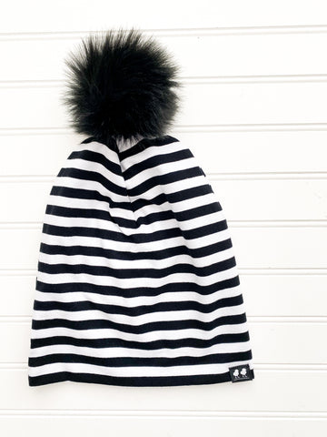 White and Black Pinstripe Slouchy Beanie