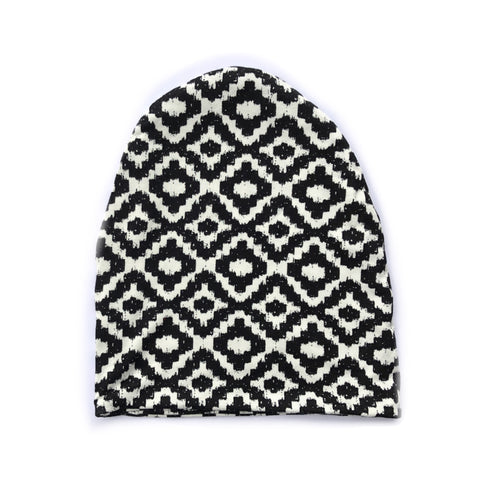 Black and White Pattern Slouchy Beanie