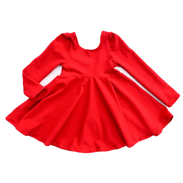 Solid Red Twirl Dress