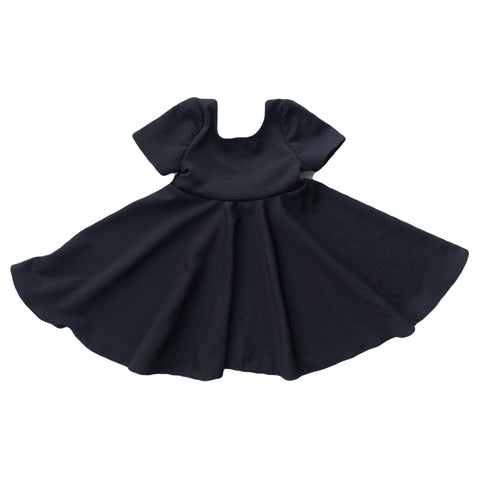 Solid Black Textured Twirl Dress- PREORDER