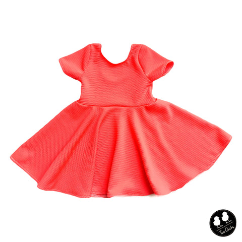Bright Neon Orange Coral Sherbert Twirl Dress- PREORDER
