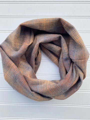 Fall Plaid Infinity Scarf Charcoal Cider Brown
