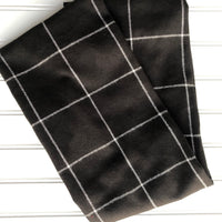 Black White Large Plaid Infinity Scarf