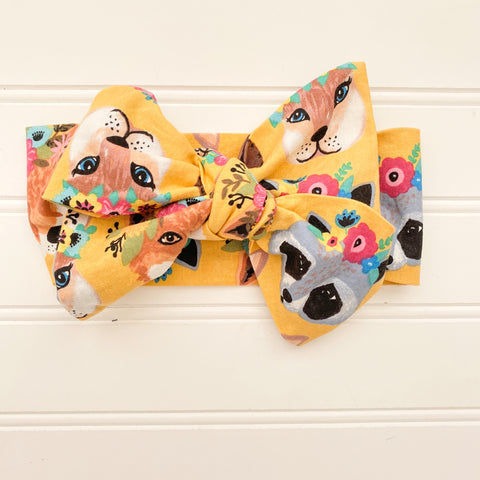 Woodland Animal Headwrap Hair Bow