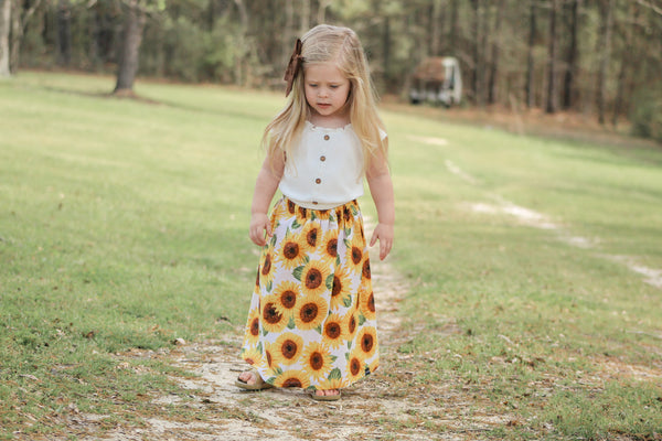 White Sunflower Maxi Skirt