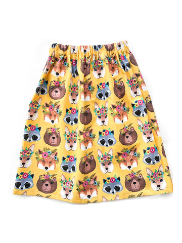 Flower Crown Forest Woodland Animals Maxi Skirt