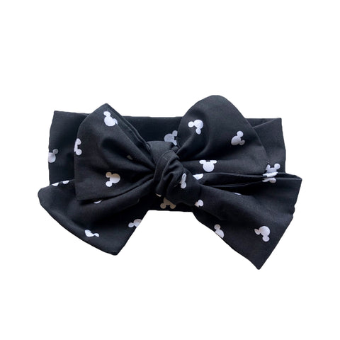 Black and White Monochrome Mickey Mouse Headwrap Hair Bow